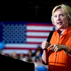 Democratic presidential candidate Hillary Clinton speaks at a rally at the Coliseum in St. Petersburg, Fla., Monday, Aug. 8, 2016.
