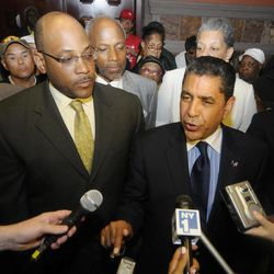FILE- In this June 14, 2011 file photo, Senate Democrats Sen. John L. Sampson, D-Brooklyn ,left, and Sen. Adriano Espaillat, D-Manhattan, join with Housing Advocates to make announcements on rent regulations during a press conference at the Capitol in Albany, N.Y. On June 26, 2102, Espaillat will challenge incumbent Charles Rangel in New York's Democratic primary. He will seek the seat in the U.S. House of Representatives that Rangel held since the early 1970's.