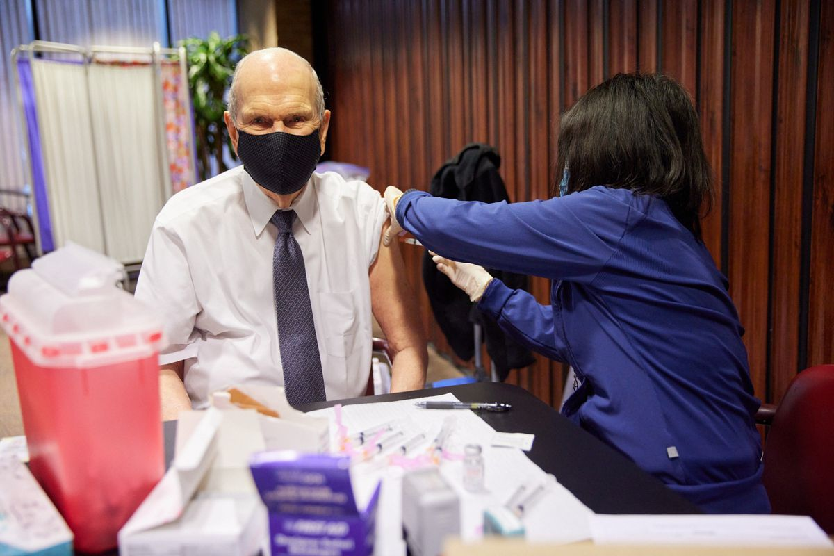President Russell M. Nelson receives the first dose of the COVID-19 vaccine, which he has called a literal godsend.