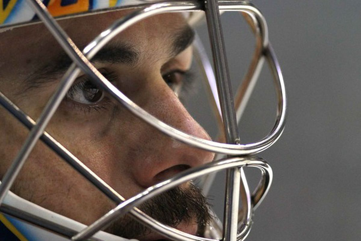 Mar 30, 2012; Buffalo, NY, USA;  Buffalo Sabres goalie Ryan Miller (30) against the Pittsburgh Penguins at the First Niagara Center.  Mandatory Credit: Timothy T. Ludwig-US PRESSWIRE