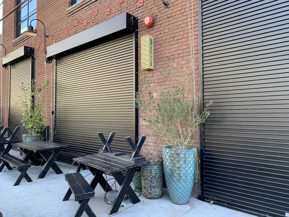 Outside Duello in LA's Arts District with closed doors