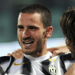 Juventus defender Leonardo Bonucci  celebrates after scoring a goal during the Serie A soccer match between Palermo and Juventus, in Palermo, Italy, Saturday, April 7,  2012.