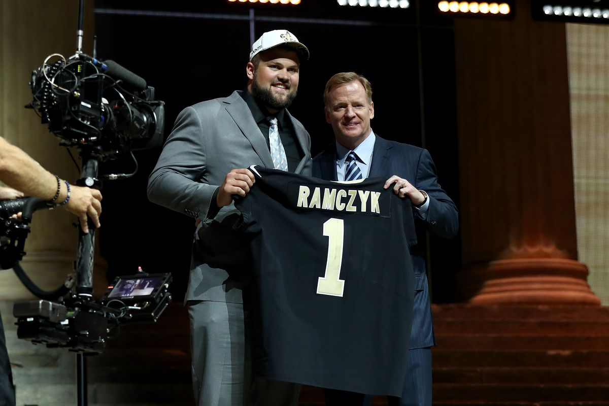 PHILADELPHIA, PA - Former Wisconsin Badgers offensive lineman Ryan Ramczyk poses with NFL Commissioner Roger Goodell after being picked 32nd overall by the New Orleans Saints at the Philadelphia Museum of Art.