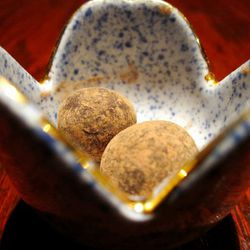 """Chocolate trufffles from <a href=""""http://www.flickr.com/photos/foodforfel/5971379696/in/pool-eater/"""">Zenkichi</a>."""