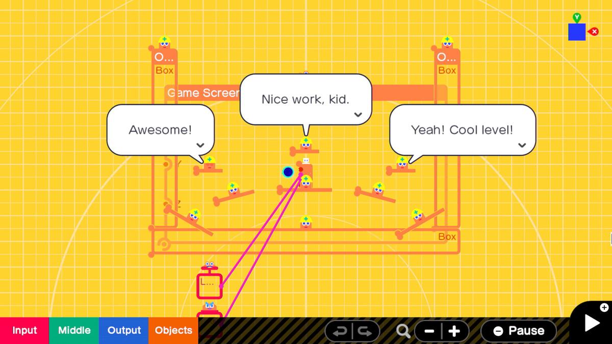 Game Builder Garage nodes speaking to the player
