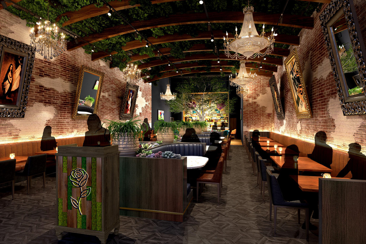 A rendering of a dining room with chandeliers, greenery, and lighting coming up the walls.