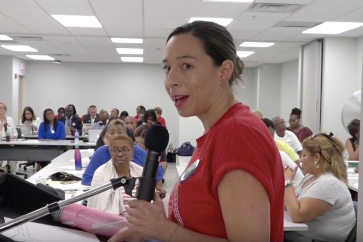 Departing chief of bilingual education, Brenda García, at a school board meeting in August 2018.