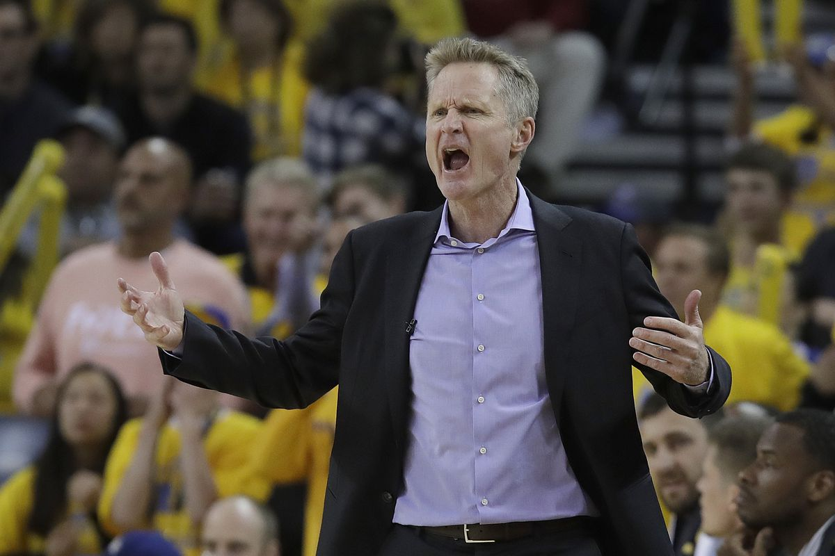 Golden State Warriors head coach Steve Kerr gestures during the second half of Game 2 of a first-round NBA basketball playoff series against the Los Angeles Clippers in Oakland, Calif., Monday, April 15, 2019.