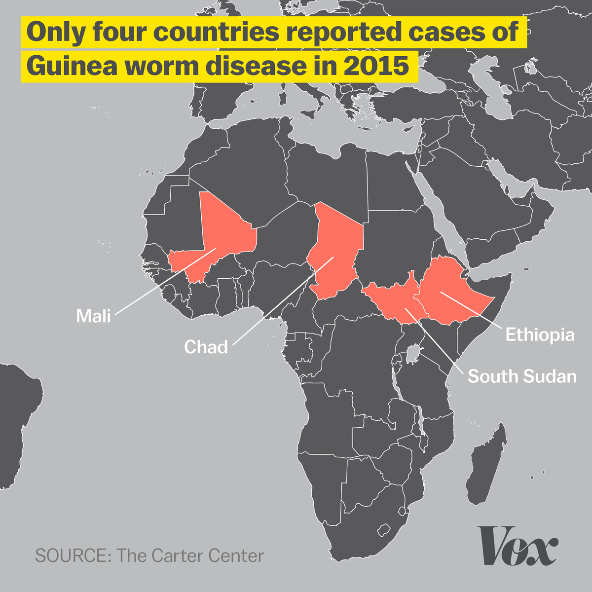 Four countries reported cases of Guinea worm disease in 2015