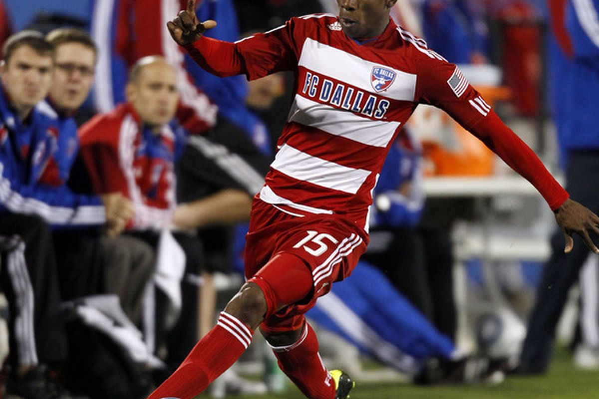 FRISCO, TX - MARCH 26: Fabian Castillo #15 of FC Dallas dribbles against the San Jose Earthquakes at Pizza Hut Park on March 26, 2011 in Frisco, Texas. (Photo by Layne Murdoch/Getty Images)