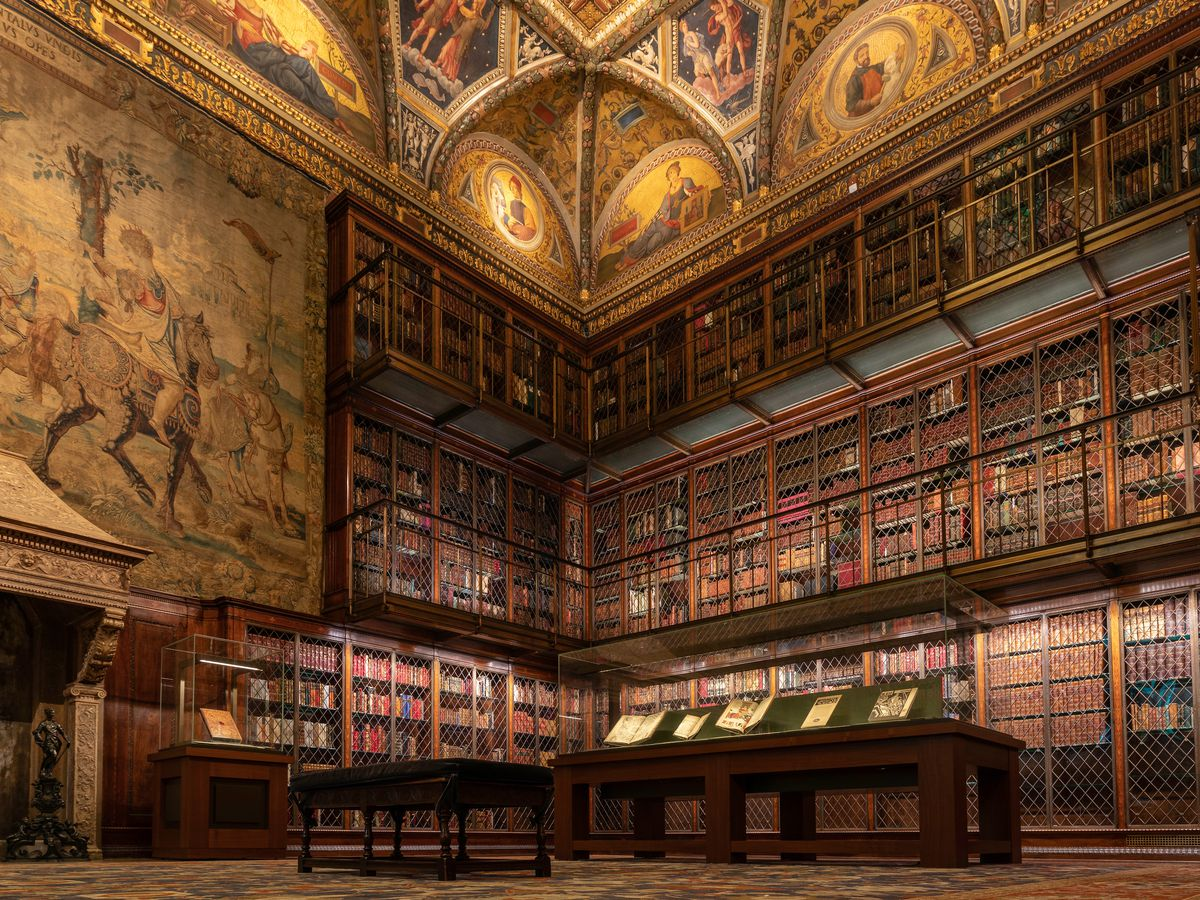 A library filled with books.