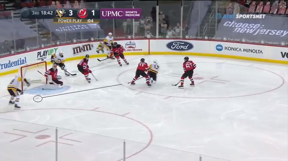 April 11: Once again, the Penguins found a wide open man unnoticed by the penalty killers. The play was in the far corner, the Devils could not deny the pass. When Rust sent it over to Guentzel, it would be a tap in for the Penguin winger and another PPGA for NJ that further kneecapped Blackwood's overall save percentage.