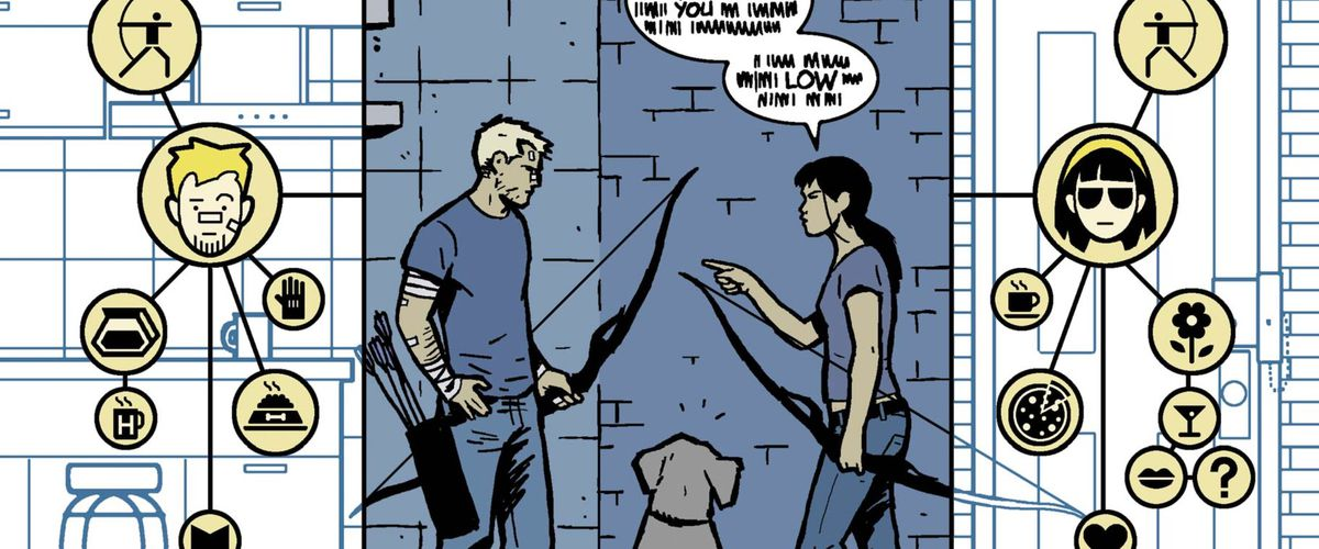 Lucky the dog listens to Clint Barton and Kate Bishop argue, but he can't really understand them. He perceives their smells as webs of graphic symbols like coffee mugs, flowers, and question marks, in Hawkeye #11, Marvel Comics (2013).
