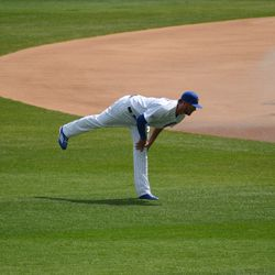 1:00 p.m. Kris Bryant taking another stretch -