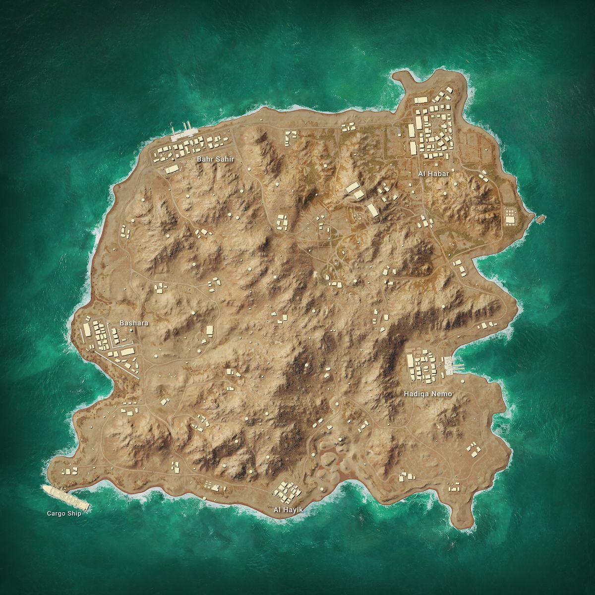 An overhead view of PUBG's Karakin map, added in season 6