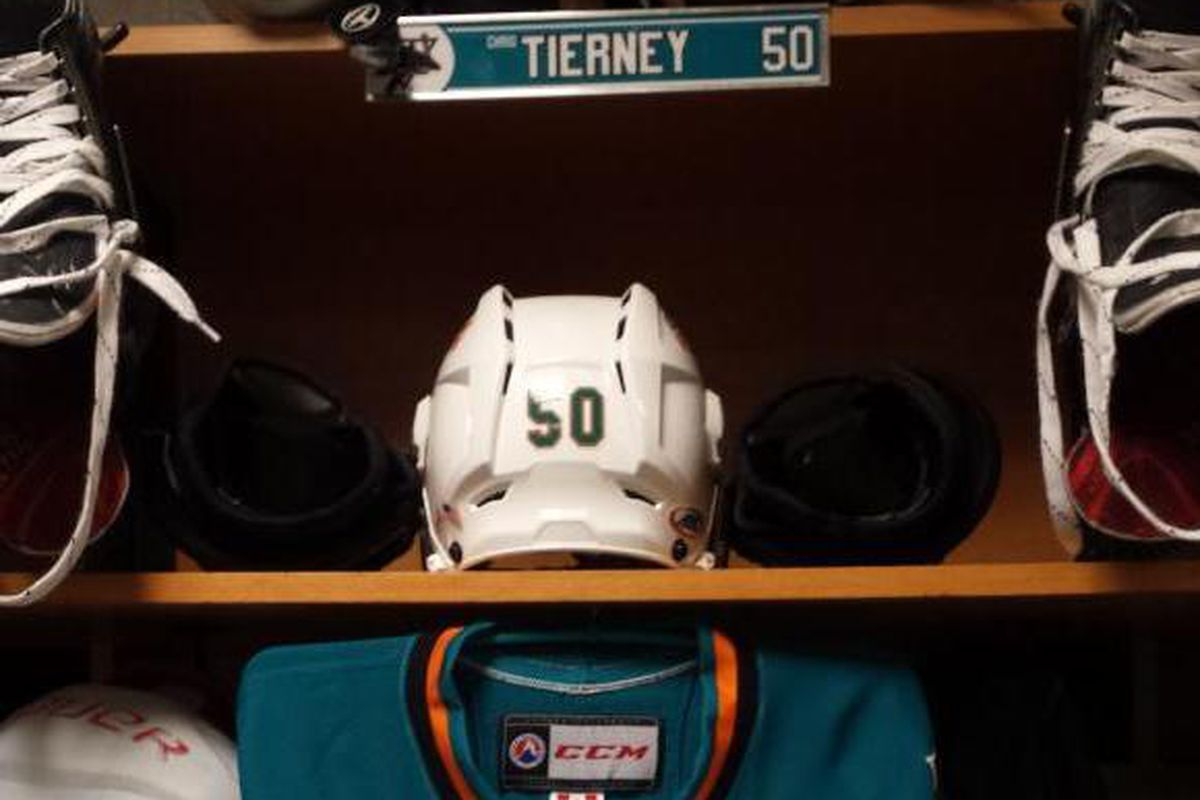 The locker stall of Chris Tierney prior to the Worcester Sharks vs. Providence Bruins game Saturday night at the DCU Center (www.twitter.com/WorcesterSharks).