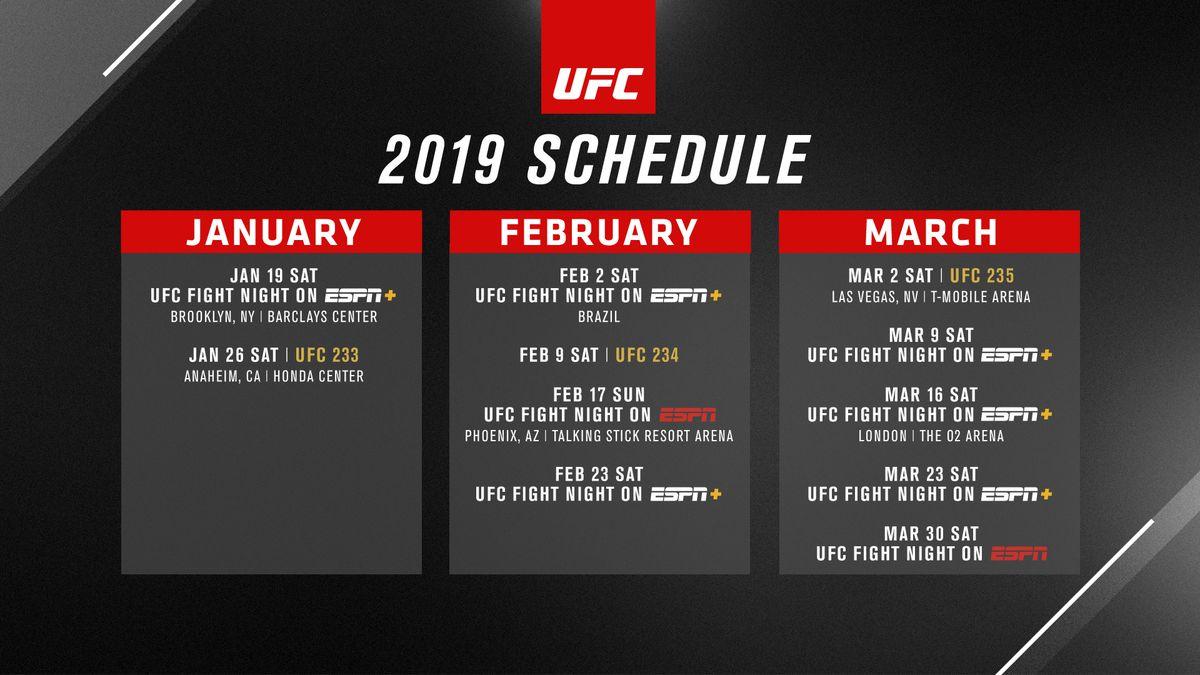 Ufc Calendar 2019 UFC unveils calendar for first quarter of 2019, first ESPN shows