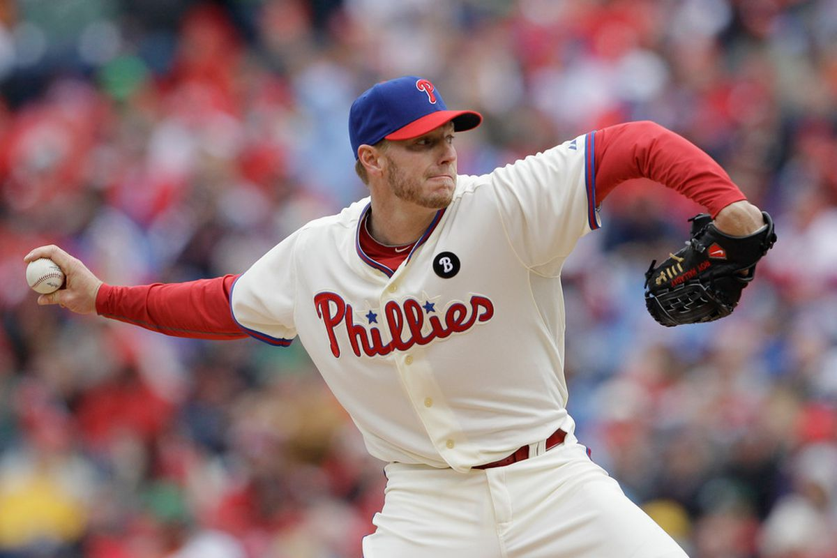 The Doctor is In: he didn't get the W, but Roy Halladay's six innings, five hits, one run and six strikeouts made for a healthy start to his Cy Young defense.  (Photo by Rob Carr/Getty Images)