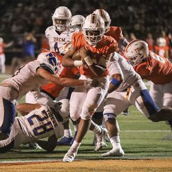 Timpview's Micah Beckstead (14) scores in the game against Orem at Timpview High in Provo on Thursday, Sept. 30, 2021.