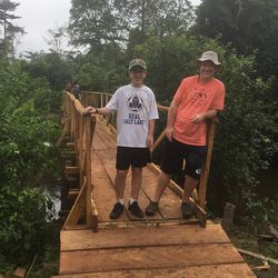 Myan Moon, a 14-year-old Boy Scout from Kaysville, raised $1,000 for the bridge supplies for his Eagle project in conjunction with World Joy and he and his father, Nathan, joined our MRIoA group on the expedition. The bridge experience was amazing.