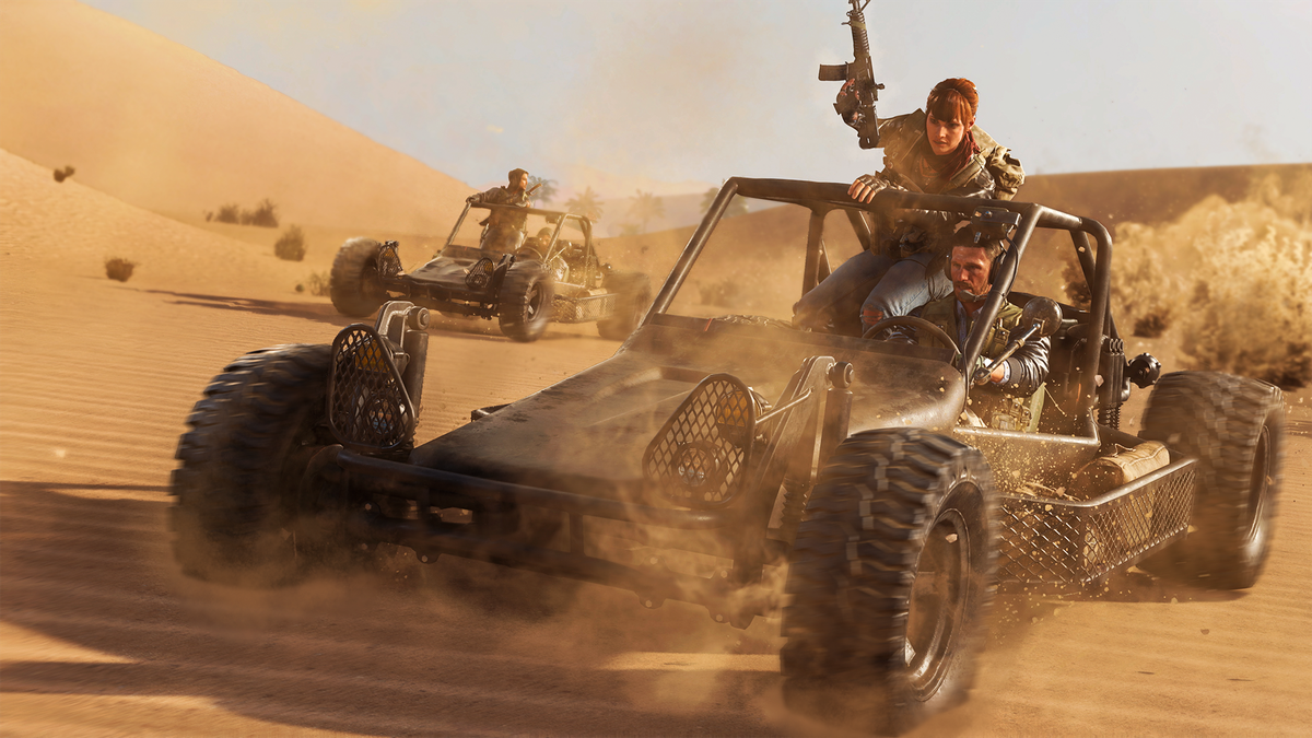 Call of Duty: Black Ops Cold War players riding in a dune buggy