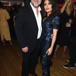 Russell Crowe and Salma Hayek at the Vanity Fair and Chopard after party.