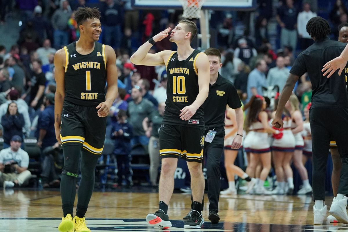 Wichita State Shockers guard Erik Stevenson reacts to the Connecticut Huskies fans after defeating the UConn in double overtime at XL Center. Wichita State defeated UConn in double overtime 89-86.