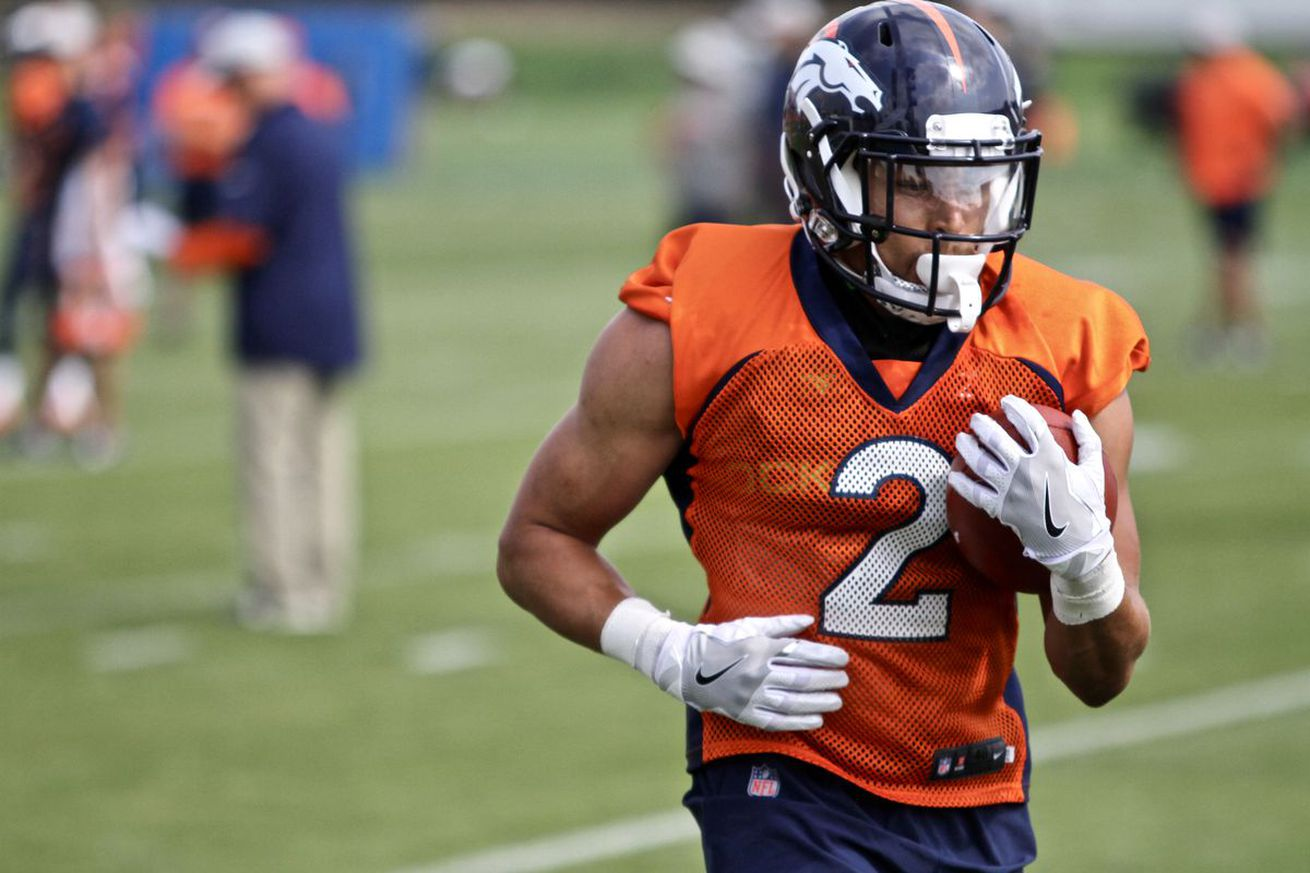 <strong>Denver Broncos rookie RB, Phillip Lindsay makes his way through drills.</strong>Casey Barrett- Mile High Report