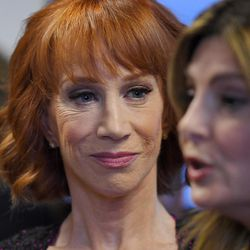 Comedian Kathy Griffin, left, listens as her attorney Lisa Bloom speaks during a news conference, Friday, June 2, 2017, in Los Angeles, to discuss the backlash since Griffin released a photo and video of her displaying a likeness of President Donald Trump's severed head.