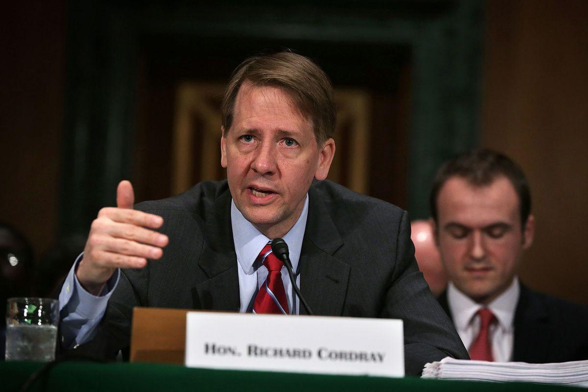 Consumer Financial Protection Bureau director Richard Cordray testifying at a US Senate hearing.