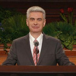 Bishop Gerald Causse of the Presiding Bishopric speaks during the Sunday morning session of the 185th Annual General Conference in the Conference Center on April 5, 2015.