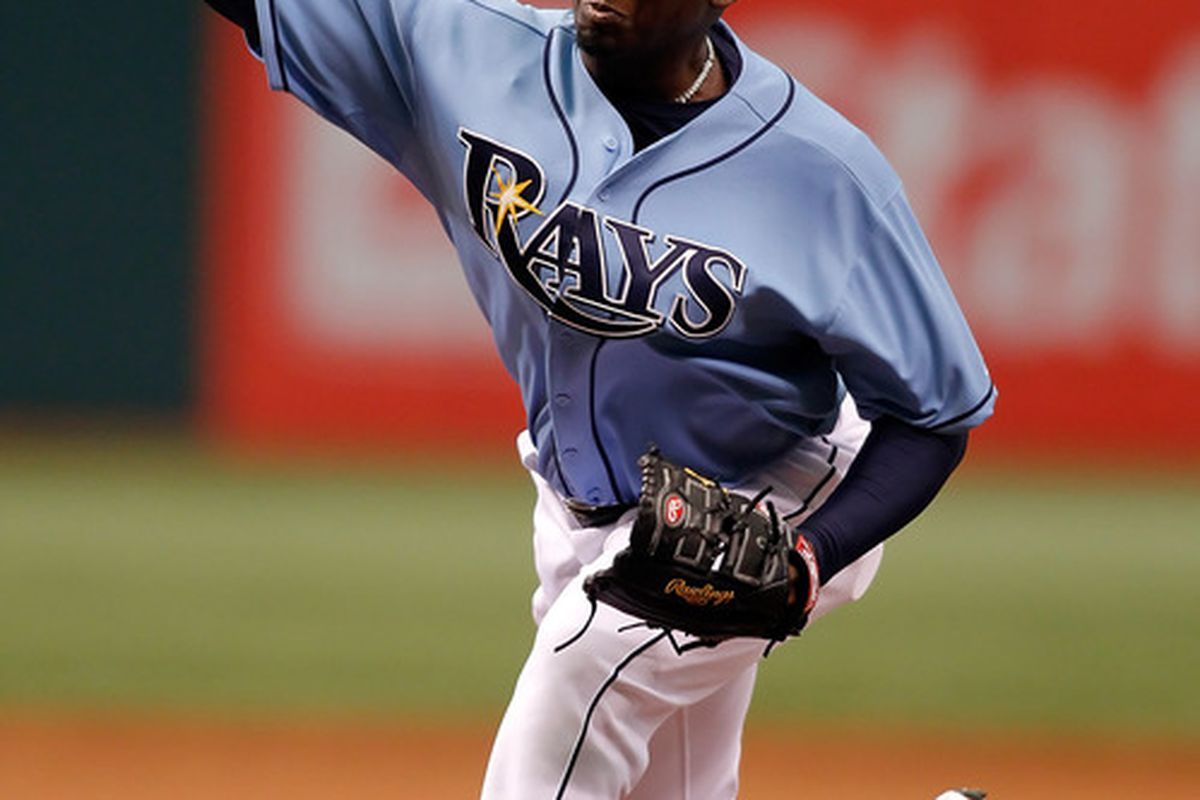 ST. PETERSBURG - MAY 02:  Relief pitcher Rafael Soriano #29 of the Tampa Bay Rays pitches against the Kansas City Royals during the game at Tropicana Field on May 2, 2010 in St. Petersburg, Florida.  (Photo by J. Meric/Getty Images)