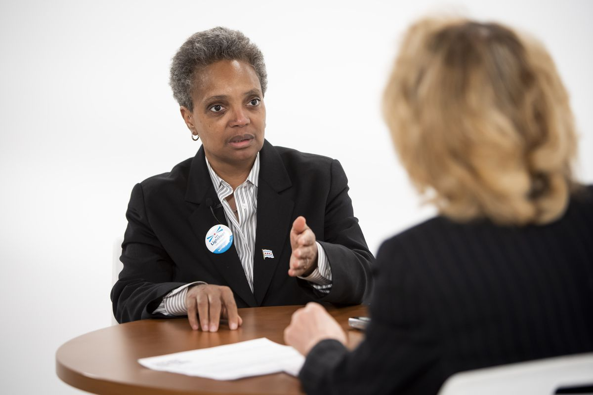 Mayoral candidate Lori Lightfoot is interviewed by reporter Fran Spielman Friday, February 22, 2019.   Rich Hein/Sun-Times