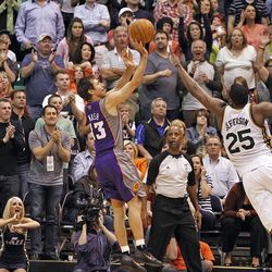 Sun's Steve Nash hit one of his two baskets in the last minute as the Utah Jazz are defeated by the Phoenix Suns 107-105 as they play NBA basketball Wednesday, April 4, 2012, in Salt Lake City, Utah.