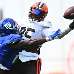 David Njoku with a one-handed grab against Jabrill Peppers.
