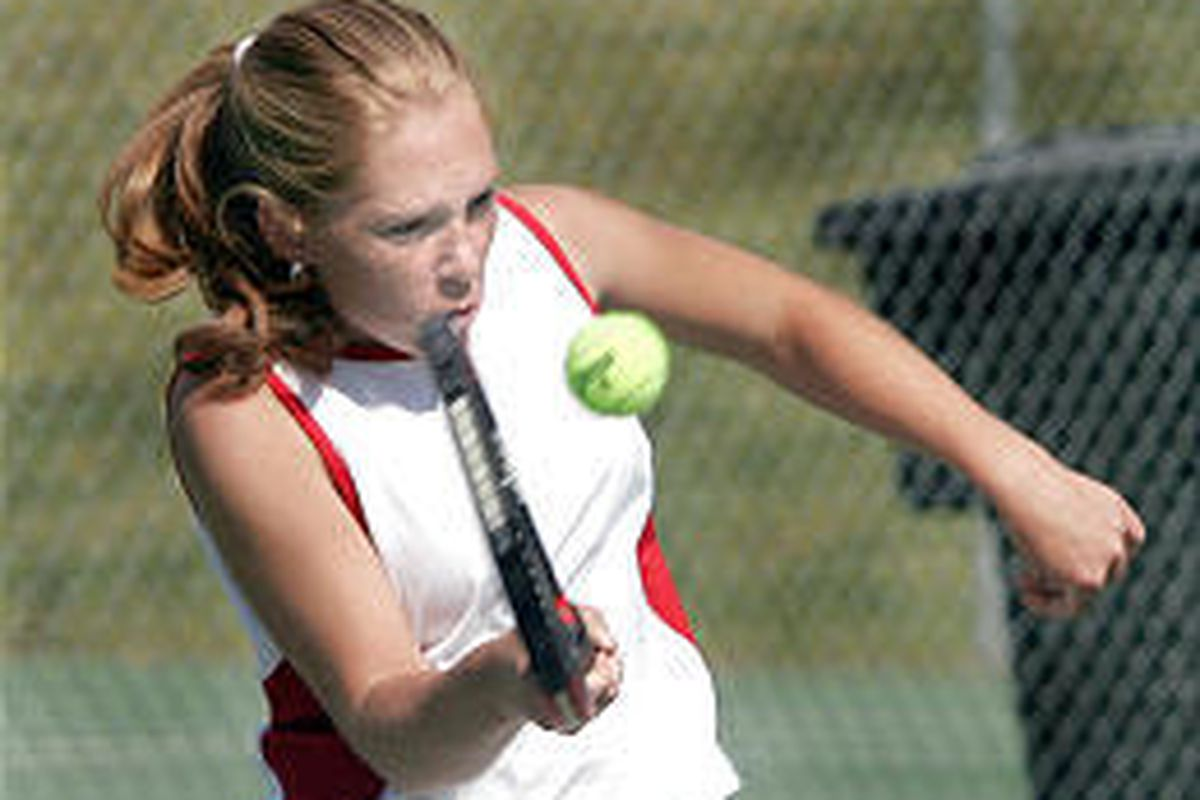 Springville's Anna Sumtion returns a shot in her doubles play-in match Tuesday at Timpview.
