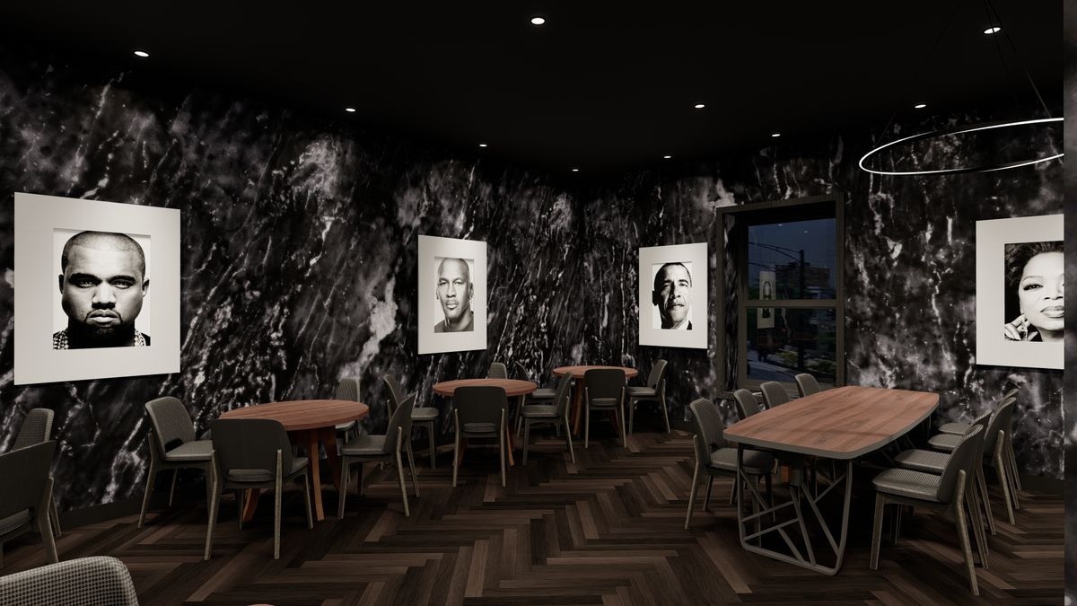 A CGI rendering of a dining room
