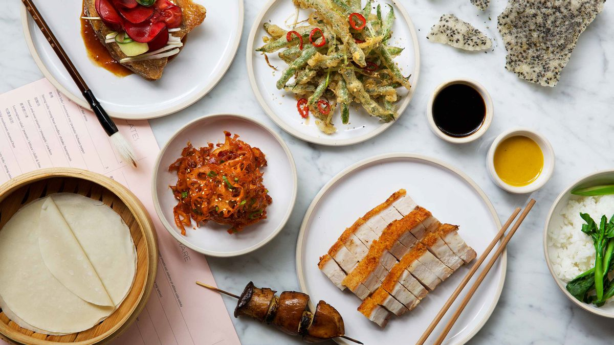 A spread of Chinese dishes at Kyms in the Bloomberg Arcade, London, an upcoming restaurant opening from Andrew Wong