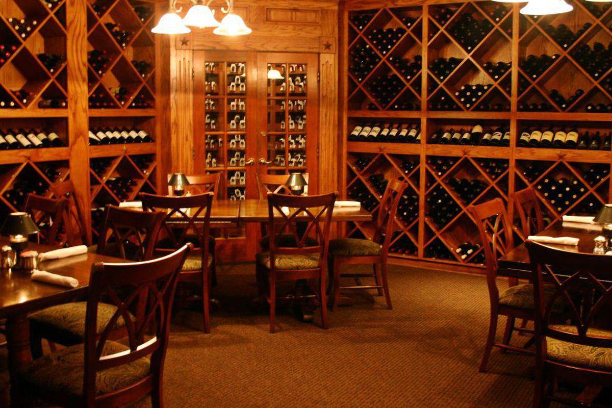 The wine room at Taste of Texas
