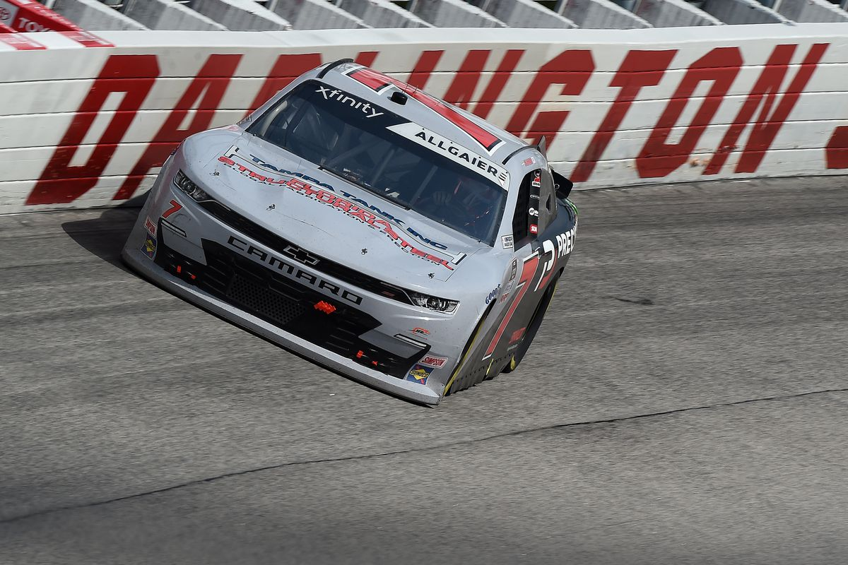 Justin Allgaier, driver of the #7 Precision Build Chevrolet, races during the NASCAR Xfinity Series Toyota 200 at Darlington Raceway on May 21, 2020 in Darlington, South Carolina.