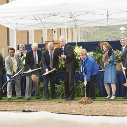 Dignitaries break ground for a new engineering building at BYU in Provo on Monday, May 9, 2016. The new building was entirely funded by donors.