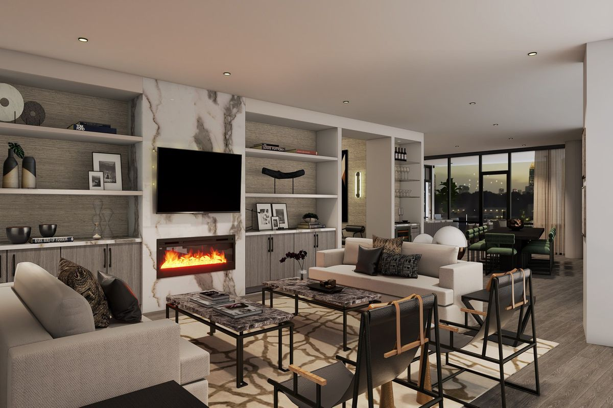 A living room in a rendering with white walls and wood floors