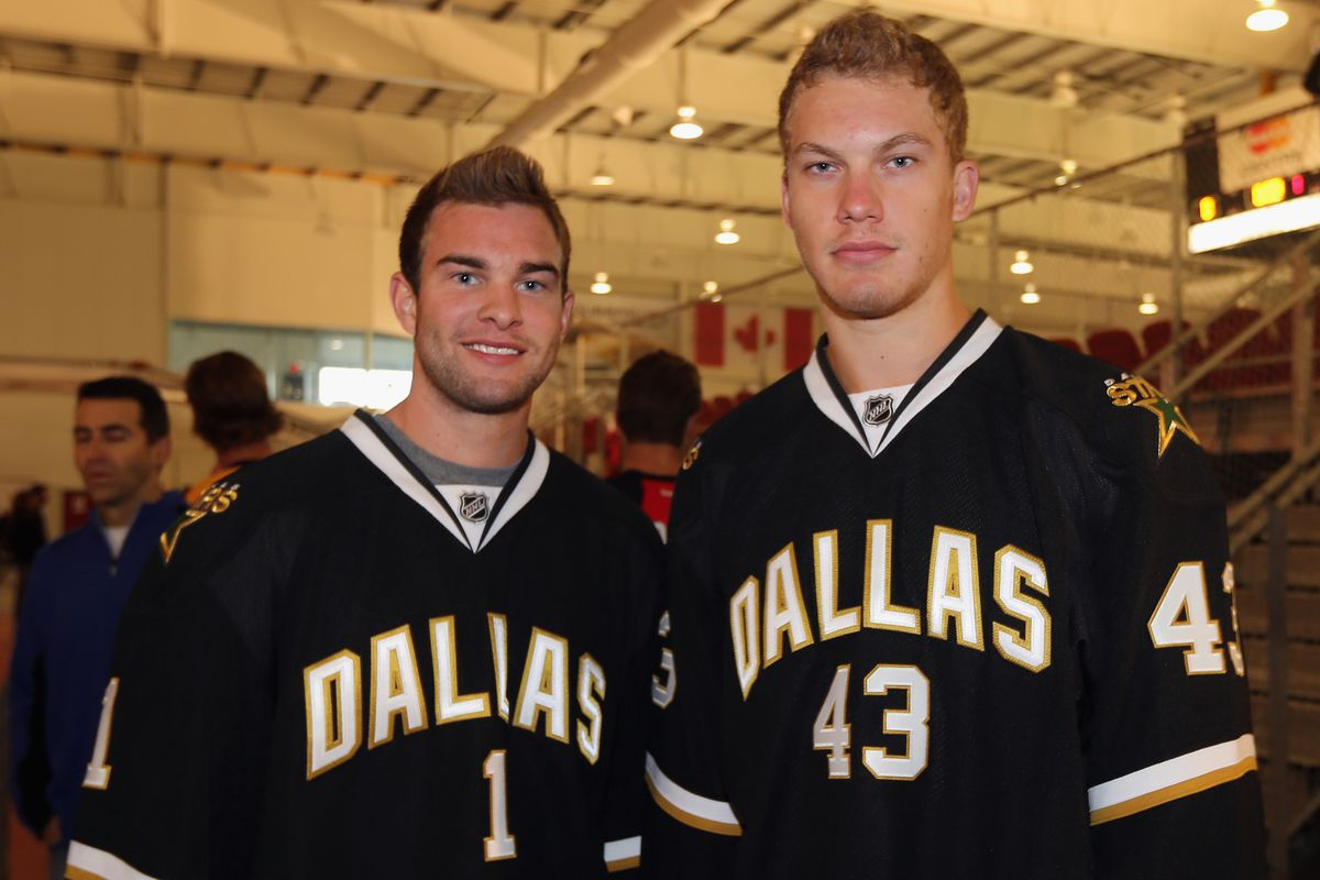 TORONTO, ON - AUGUST 28: (L-R) Jack Campbell and Jamie Oleksiak of the Dallas Stars meet with the media at the 2012 NHLPA rookie showcase at the MasterCard Centre on August 28, 2012 in Toronto, Canada.  (Photo by Bruce Bennett/Getty Images)