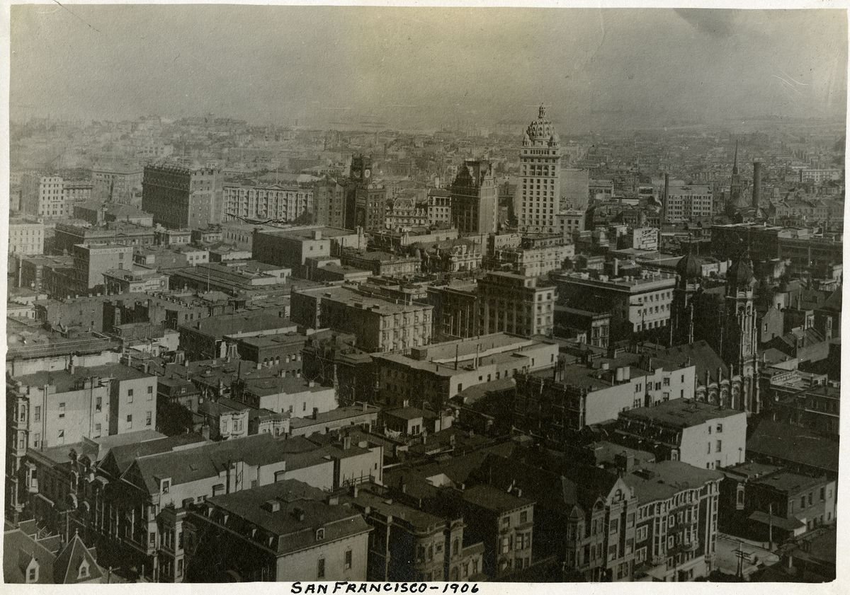 """San Francisco -- 1906. Overview of San Francisco before the earthquake and  fire of April 1906."" This photo dates to just one day before the disaster."