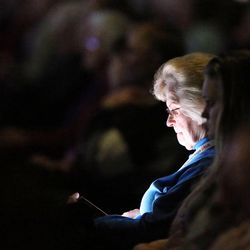 RootsTech attendees listen during the general session at the Salt Palace in Salt Lake City on Friday, Feb. 10, 2017.