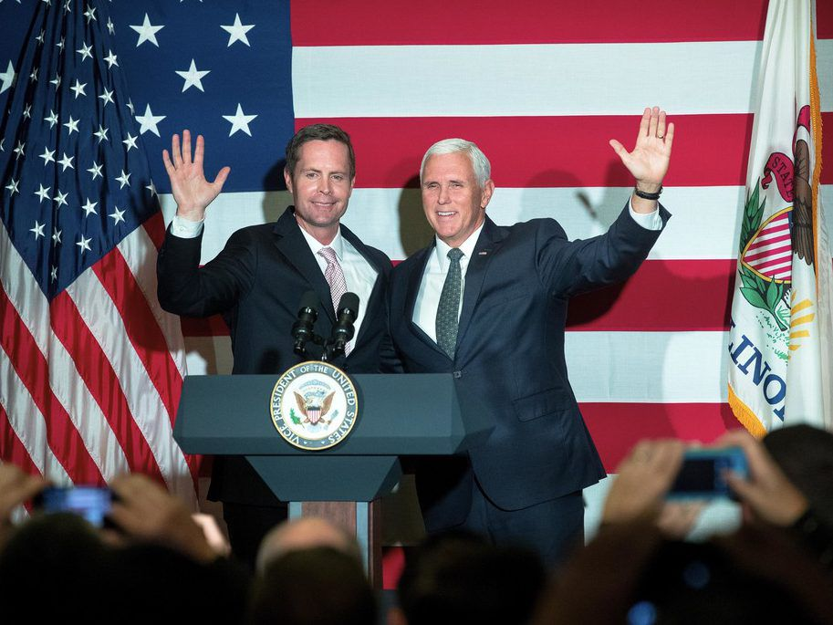 Vice President Mike Pence, right, campaigns with U.S. Rep. Rodney Davis, R-Taylorville, at Panther Creek Country Club in Springfield, Ill., earlier this month. (Ted Schurter/The State Journal-Register via AP)