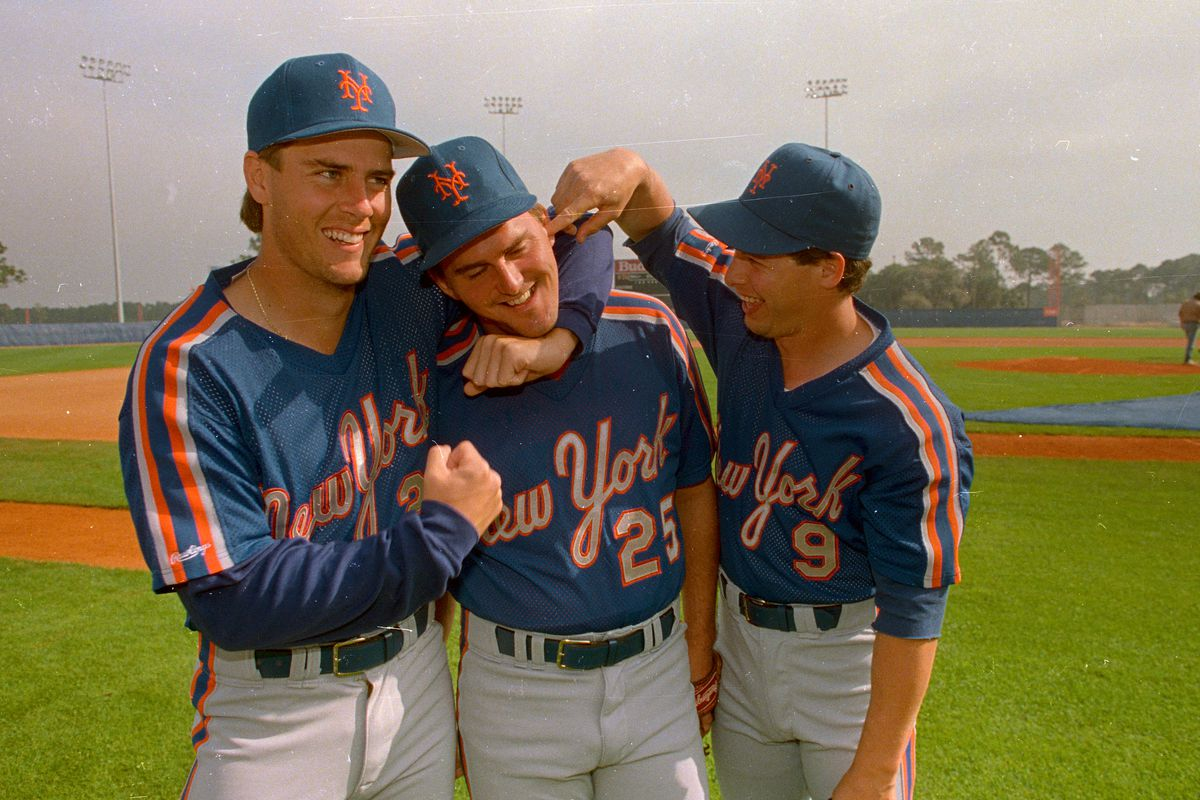 Kevin Elster with Keith Miller and Gregg Jefferies