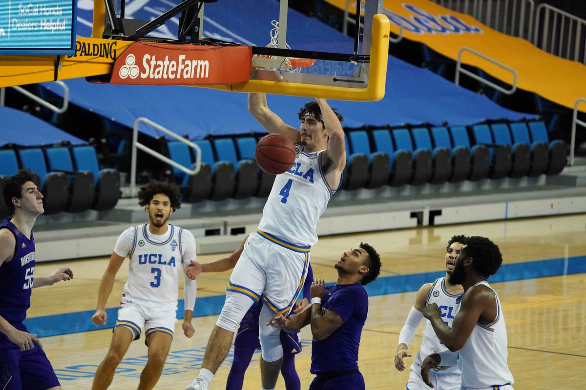 UCLA Bruins guard Jaime Jaquez Jr. dunks the ball against the Washington Huskies in the second half at Pauley Pavilion.