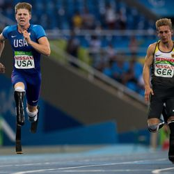 Hunter Woodhall, USA, runs the final leg in the Men's 4x100m - T42-47 Final athletics in the Olympic Stadium at the Paralympic Games, Rio de Janeiro, Brazil, Sept. 12, 2016.