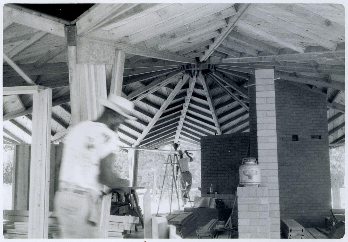 An archival image of Albert Ledner's own home being built.